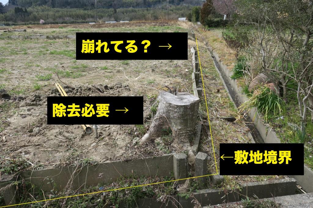 土留めが一部崩れている、切り株の除去、土地の凸凹のチェック写真