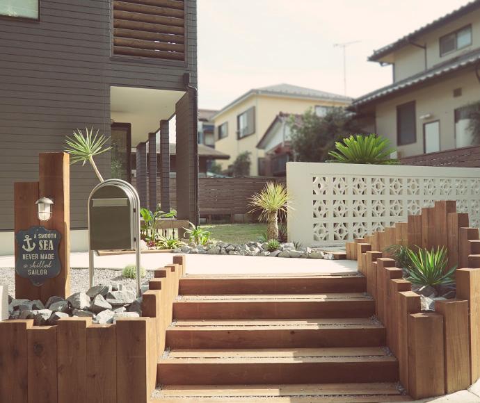 千葉県のゼロキューブ マリブ(ZERO-CUBE MALIBU)モデルハウス エントランスのドライガーデン