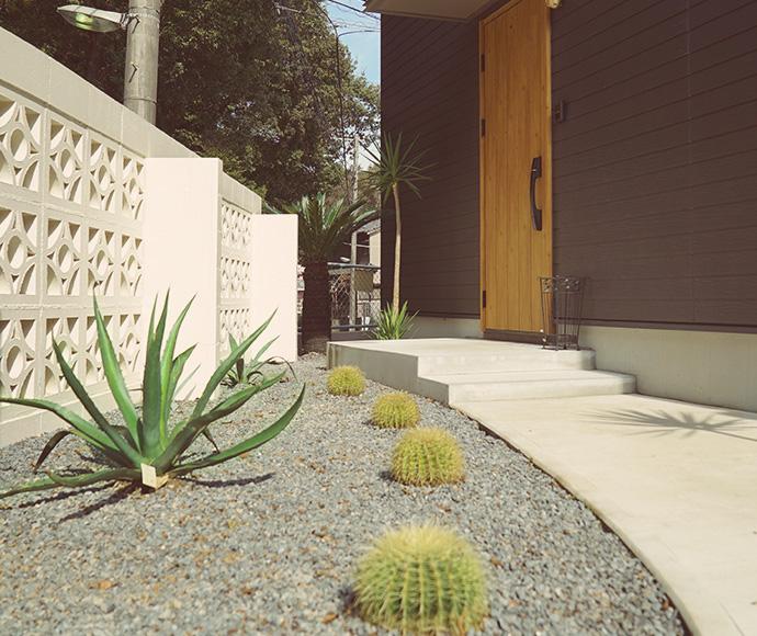 千葉県のゼロキューブ マリブ(ZERO-CUBE MALIBU)モデルハウスにあるドライガーデン アガベウィンラリアーナとキンシャチサボテン