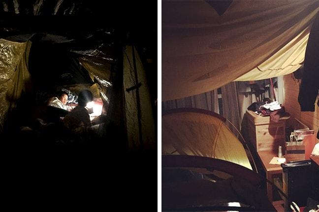 家キャンプ テント泊