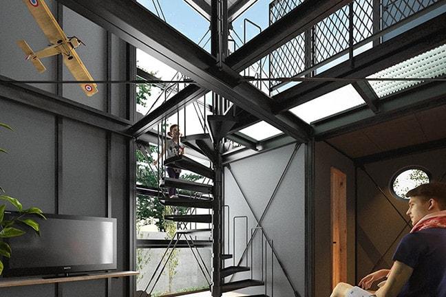 デイトナハウス(DAYTONA HOUSE)TYPE-B オープンライフ1Fリビング・らせん階段
